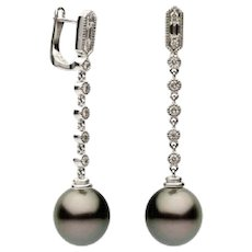 10-11mm Tahitian Pearl & Diamond Earrings (0.32 ct. tw.)