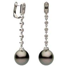 10-11mm Tahitian Pearl & Diamond Earrings (0.32 ct. tw.)
