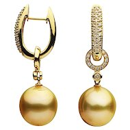 Golden South Sea Pearl Yellow Gold Diamond Earring