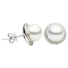 Freshwater Pearl & Diamond Halo White Gold Stud Earrings