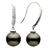 Tahitian Pearl and Diamond Earring