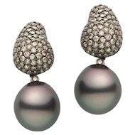 Tahitian Pearl Champagne Diamond Gold Earring: Prince Diamond