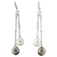 South Sea and Tahitian Pearl Diamond Gold Dangle Earrings
