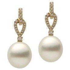Yellow Gold Pearl and Diamond Dangle Drop Earring
