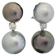 Tahitian Pearl Diamond Gold Double Earrings