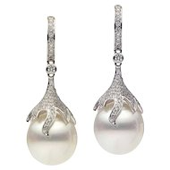 Pearl and Diamond Dangling Drop Earrings