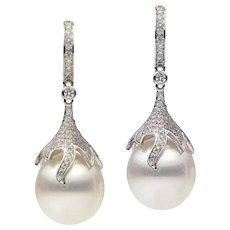 Pearl and Diamond Dangling Drop Earrings