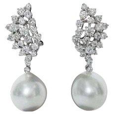 South Sea Diamond Earrings 2.70 Cts.
