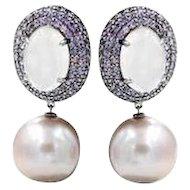 Pink Sapphire F/W Pearls Rose Quartz Black Rhodium Earrings