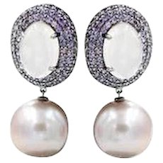 Pink Sapphire F/W Pearls Rose Quartz Black Rhodium Earrings