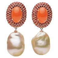 Orange Moonstone Orange Blue Sapphire Fresh Water pearl Earring