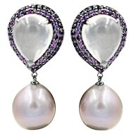 Pink Sapphire Pink F/W Pearls Rose Quartz Earrings