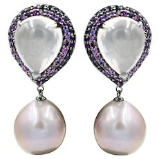 Pink Sapphire Pink F/W Pearls Rose Quartz Earrings