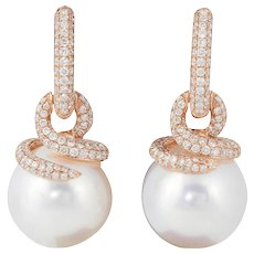 South Sea Pearl and Diamond Earring