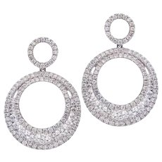 Double Circle Diamond Drop Dangle Earrings