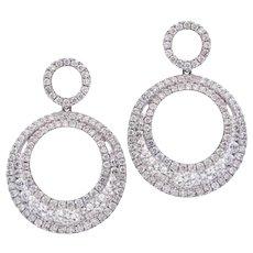 Double Circle Diamond Drop Dangle Earrings