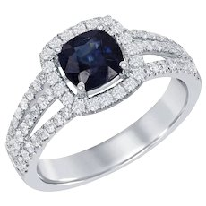 Square Cushion Sapphire Diamond Gold Ring