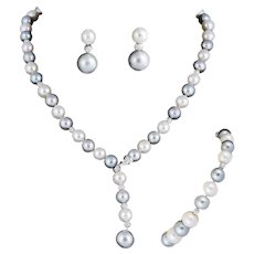 Round Grey/ White  Cultured Pearl Lariat Necklace Bracelet  Earrings Suite