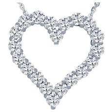 Large White Gold Heart Diamond  3.82 Cts