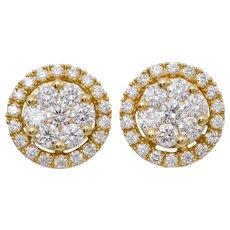 Diamond Yellow Gold Cluster Earrings