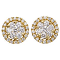 Diamond Yellow Gold Cluster Earrings