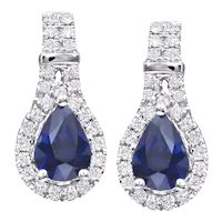 Pear Shape Sapphire & Diamond Drop Earrings