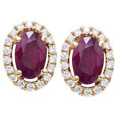 1.27 Ctw. Oval Ruby & Diamonds Gold Earrings