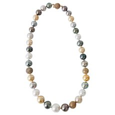 Multi color South Sea Pearl & Diamond Ball Necklace