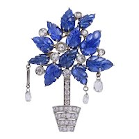 Briolette Sapphire Diamond Plant Pin: circa 2000