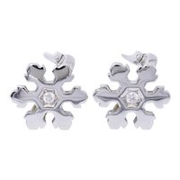 Bulgari Diamond Gold Snowflake Earrings