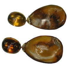 Amber Earrings Circa 1915