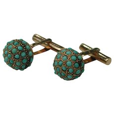 Van Cleef & Arpels Turquoise 14K Cufflinks  : Prince Diamond: circa 1940
