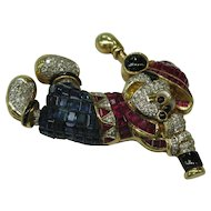 Mickey Mouse Invisible Setting Ruby Sapphire Diamond 18K Brooch