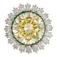 Natural Fancy Intense 22.77 Carat Yellow Diamond Platinum Ring