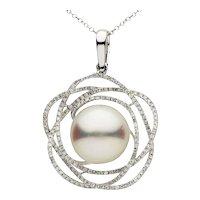 South Sea Floral Pearl Diamond Gold Pendant