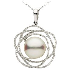 South Sea Floral Pearl Diamond Gold Pendant