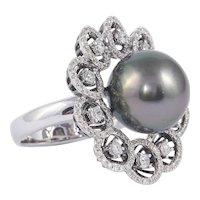 Tahitian Pearl Diamond Cluster Gold Ring