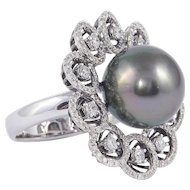 Tahitian Pearl Diamond Cluster Gold Ring