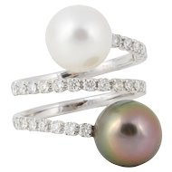 Diamond and South Sea Tahitian Pearl Gold Ring