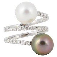 Diamond and South Sea Tahitian Pearl Gold Ring
