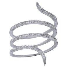 White Gold Diamond Snake Ring