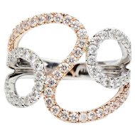 Curba Anello Rose/White Gold Diamond Ring