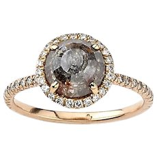 Brown Rough Diamond Engagement Ring in Rose Gold