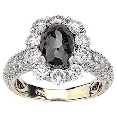 Noir Rough Black Oval Diamond Ring