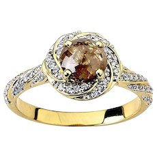 Twisted Halo Yellow Diamond Ring in Gold