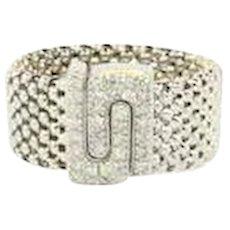 14K soft mesh white gold diamond ring