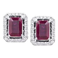 1.06ctw Emerald Cut Cushion Rubies w/ Diamond Halo Earrings