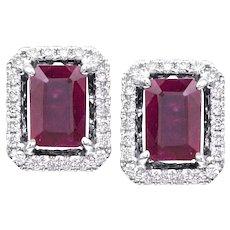 1.06ctw Emerald Cut Cushion Rubies w/ Diamond Halo Earrings