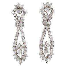 1960s 11.00 Carats Diamonds Gold Chandelier Earrings