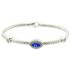 Diamond and Evil Eyes Silver Bangle